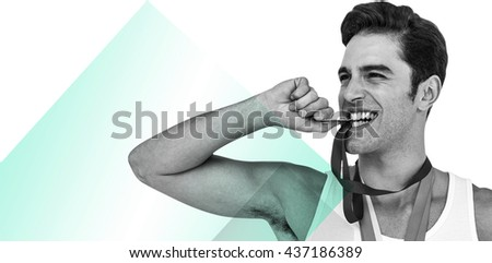 Athlete posing with gold medals around his neck against different colors