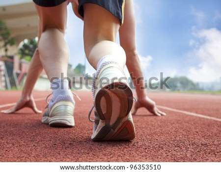 athlete ready for race - stock photo