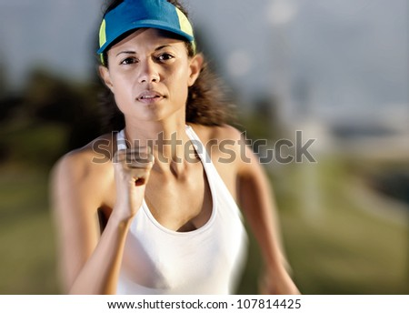 Athlete running fast with motion blur and determination for fitness and endurance - stock photo