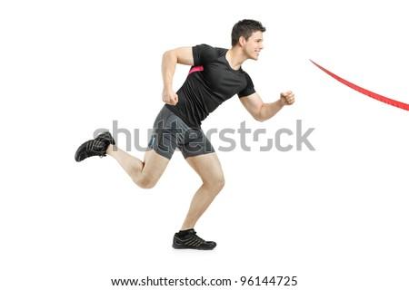 Athlete running towards the finish line isolated on white background - stock photo