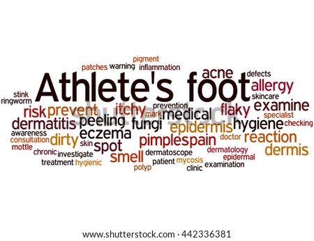 Athlete's foot, word cloud concept on white background.