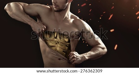 Athlete showing his internal strength - stock photo