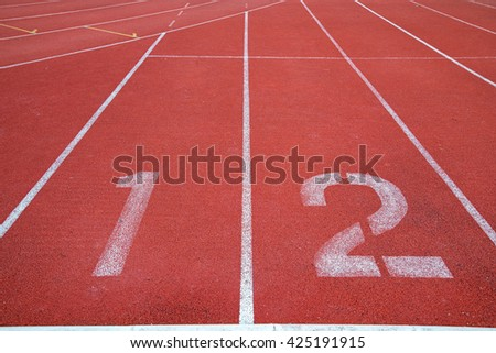 Athlete Track or Running Track with three numbers (1st, 2nd )