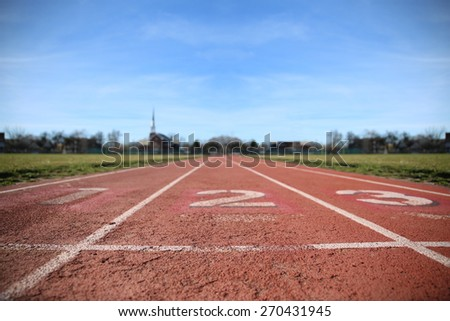 Athlete Track or Running Track with three numbers (1st, 2nd and 3rd) good for business or motivation designs  - stock photo
