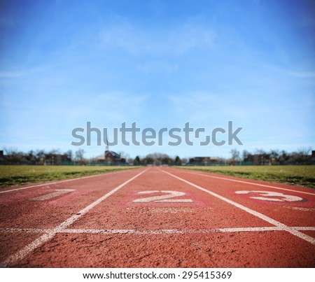 Athlete Track or Running Track with three numbers (1st, 2nd and 3rd) good for business or motivation designs or graphic posters and meme images  - stock photo