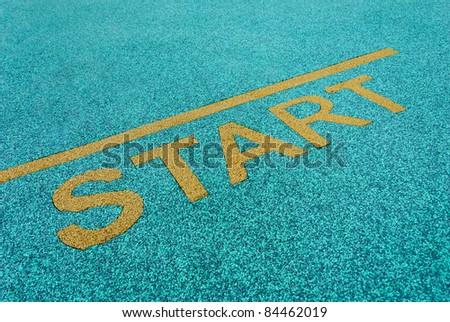 Athlete track start sign - stock photo