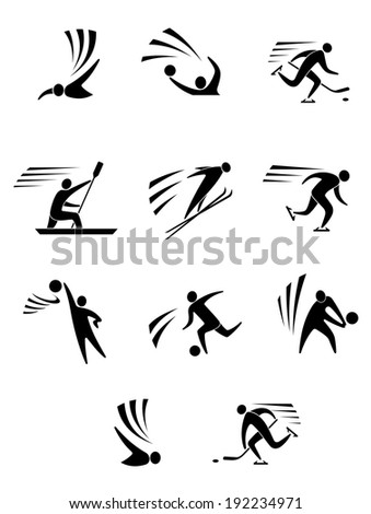 Athletes and players for different sports logo elements or design. Vector version also available in gallery - stock photo