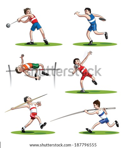 Athletes: hammer thrower, shot putter, discus thrower, javelin thrower, high jumper and pole vaulter