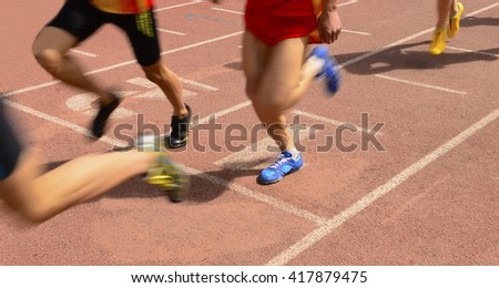Athletes in the running, on the track