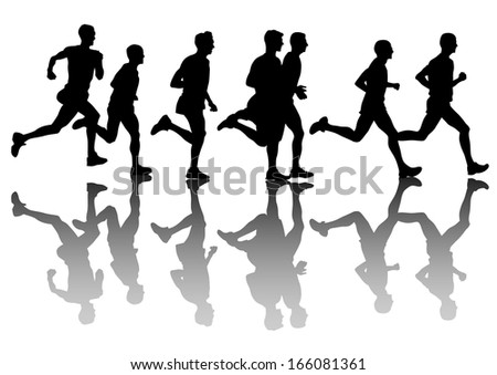 Athletes on running race on white background.