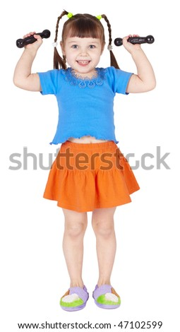 Athletic child is doing dumbbell isolated on a white background - stock photo