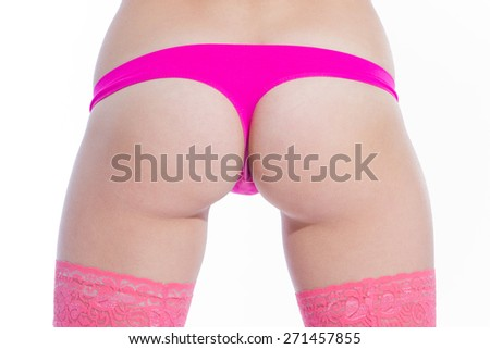 athletic female ass in pink panties - stock photo