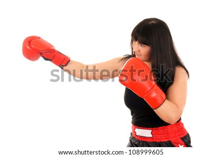 athletic girl with boxing gloves