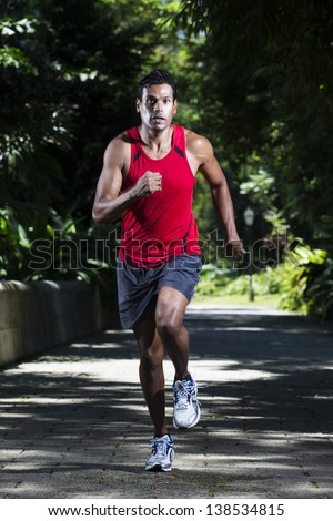 Athletic Indian man running in park. Asian Runner jogging outdoors with tree's in background. Male fitness concept. - stock photo