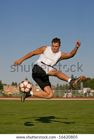 Athletic male in the air making a trick shot