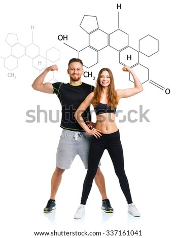Athletic man and woman after fitness exercise on the white with the chemical formula on background - concept of healthy life - stock photo