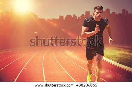 Athletic man jogging against white background against composite image of race track - stock photo