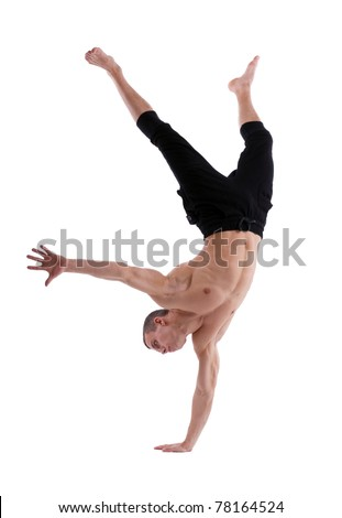 athletic man posing nude stand on hand