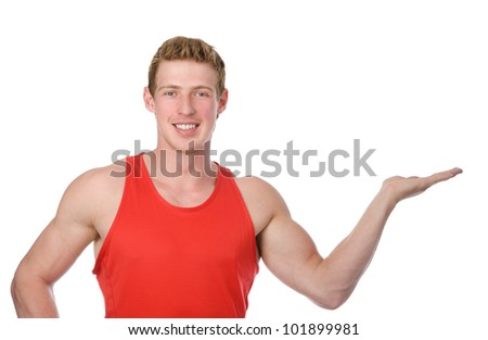 athletic man showing open hand palm with copy space for product or text. isolated on white background - stock photo