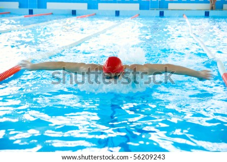 Athletic man swimming in the pool - stock photo