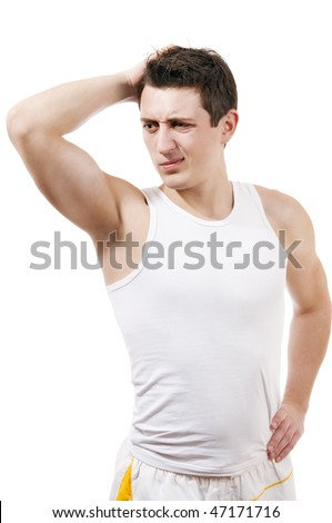 Athletic man with thinking expression white isolate portrait