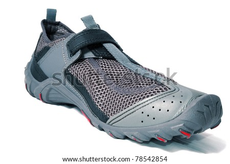 Athletic running shoes gray on a white background - stock photo