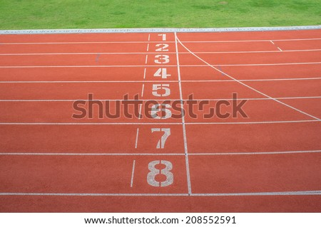 Athletic running track - stock photo