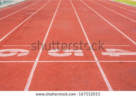 Athletic running track with number four,five and six in stadium