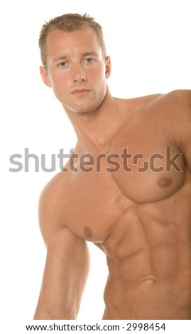 Athletic sexy male body builder - stock photo