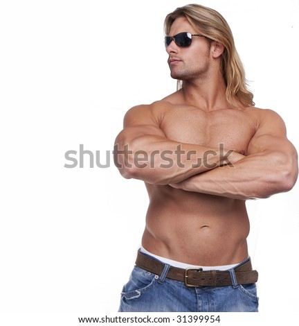 Athletic sexy male body builder with the blonde long hair. gladiator wearing sunglasses - stock photo