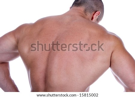 Athletic sexy man's back - stock photo