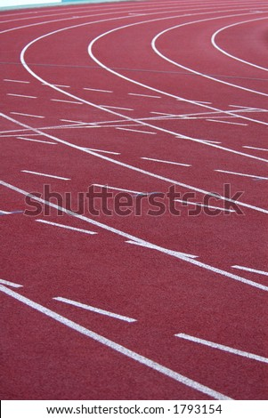 Athletic stadium with running-tracks - stock photo