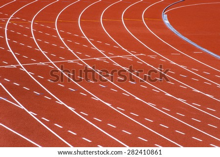 athletic track lanes - stock photo