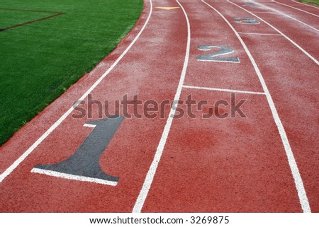 Athletic track lanes bordered by lush green grass.