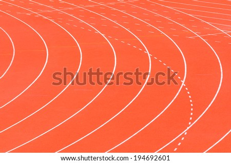 Athletic track with white  curve line - stock photo