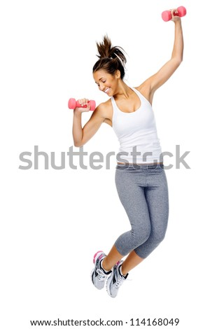 Athletic woman jumping with dumbbells isolated on white background - stock photo