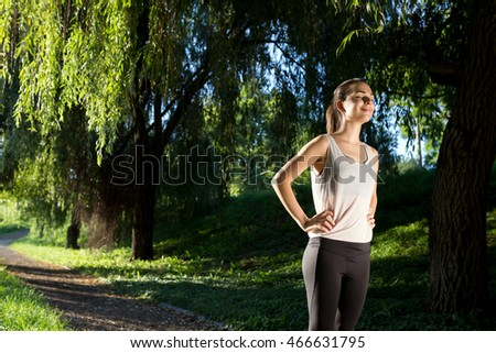 Athletic woman ready to jog