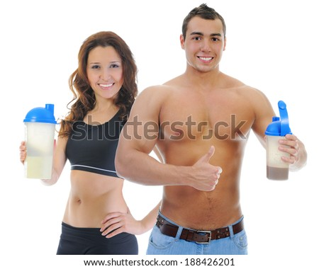 Athletic young man and woman with protein shake bottle. Isolated on white background