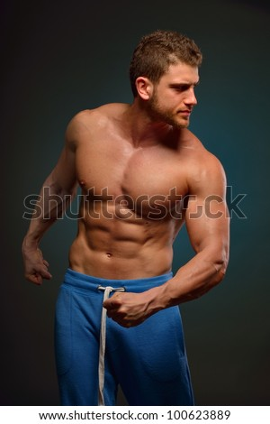 athletic young man portrait - stock photo