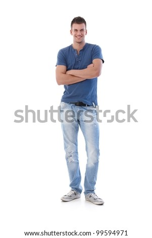 Athletic young man smiling arms crossed at camera.