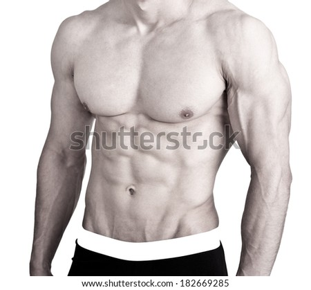 Athletic young man with sixpack on white background   - stock photo
