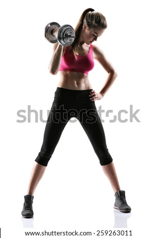 Athletic young woman doing a fitness workout with weights / photo set of sporty muscular female brunette girl wearing sports clothes working out with dumbbell over white background