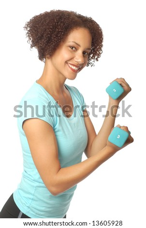 Athletic young woman lifting small weights; isolated on white