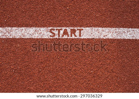 Athletics all weather running track texture start text Concept Business Success - stock photo