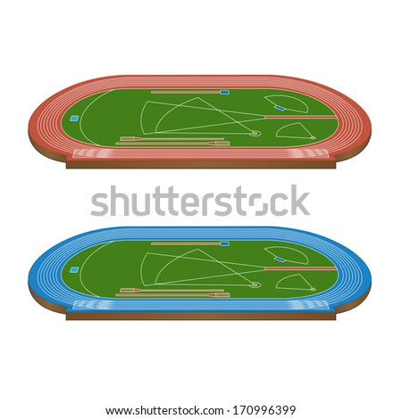 Athletics Field with Running Tracks in Red and Blue 3D Perspective - stock photo