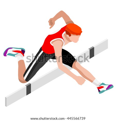 Athletics Hurdle Jumping 2016 Summer Games Icon Set.3D Isometric Athlete.Sporting Championship International Athletics Competition.Sport Infographic Athletics Hurdler Jumping olympics Image. - stock photo