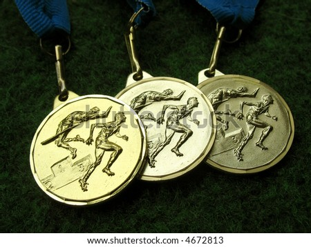 Athletics medals for a winner or champion - stock photo