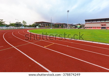 Athletics sport stadium running track lines marks - stock photo