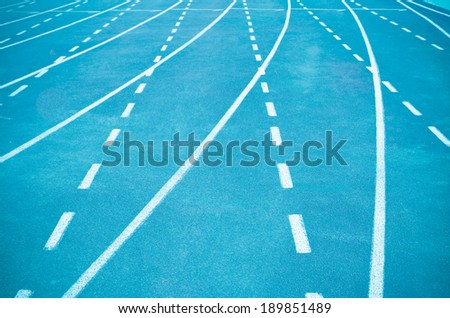 Athletics stadium running track - stock photo