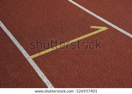 Athletics stadium running track red lines marks. Start track. Lanes 1, number one of a red racing track.